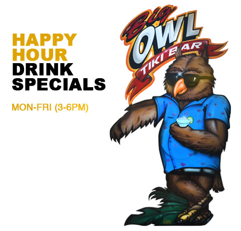 The Big Owl Happy Hour Drink Specials Image